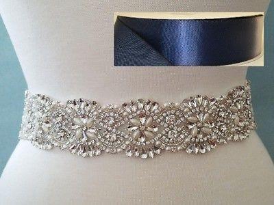 18 INCH LONG Crystal Pearl Wedding Dress Sash Belt = NAVY RIBBON