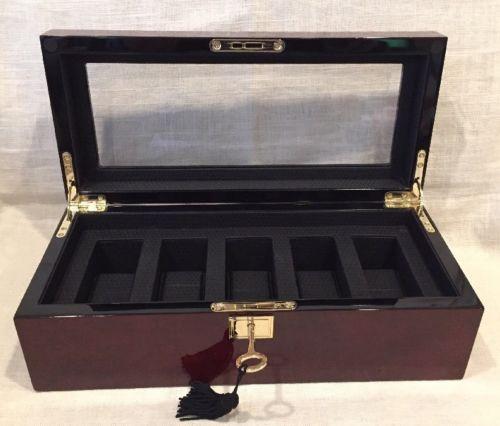 Wolf Savoy 5 Piece Watch Box Storage Chest Organizer Case Burlwood