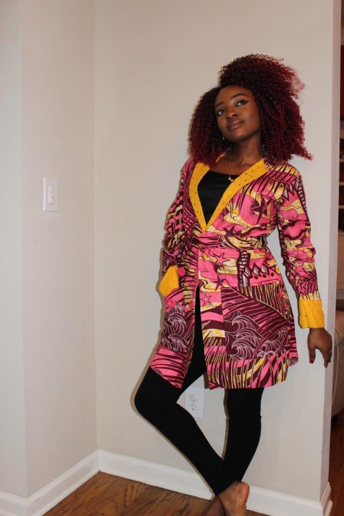 Ankara Pink Yellow Winter Jacket Medium Size New