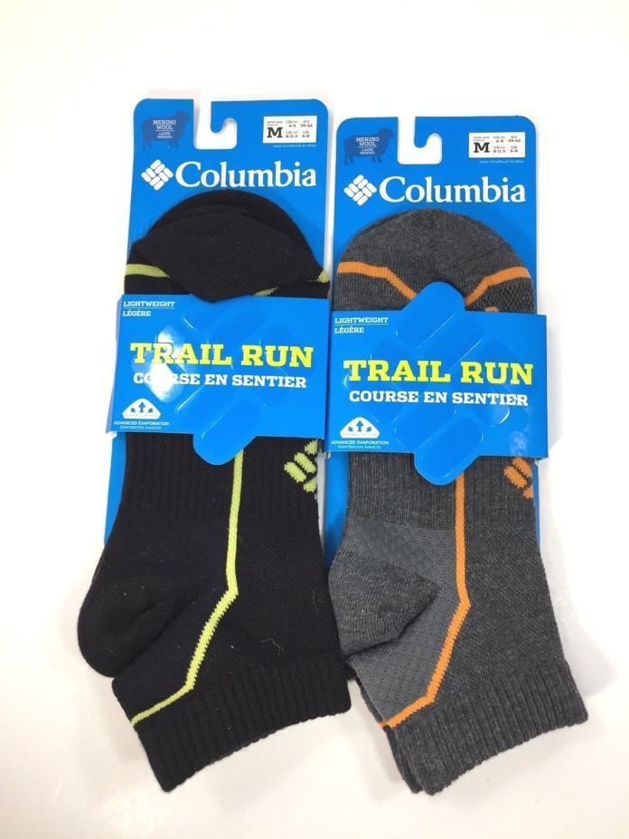 Columbia Unisex Merino Wool Trail Run Light Weight Socks Hike SzM US6-9 W 8-11.5