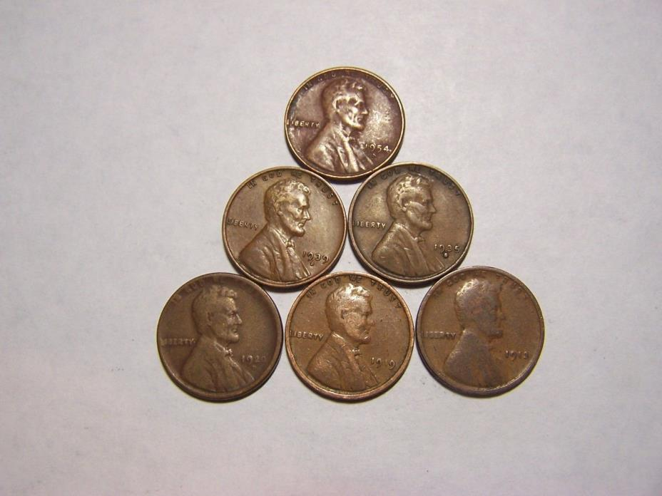 6-Lincoln Wheats 1913 1919 1920-D  1935-S 1939-S 1954-S