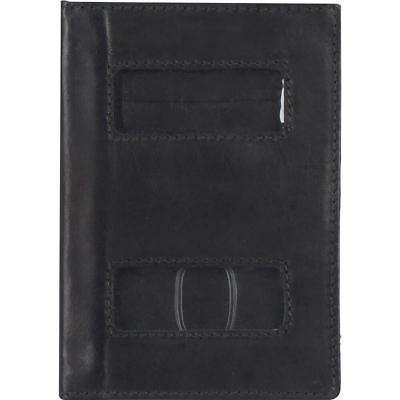 Wilsons Leather Mens, Womens Genuine Leather Passport Cover W/ Card Slots Black