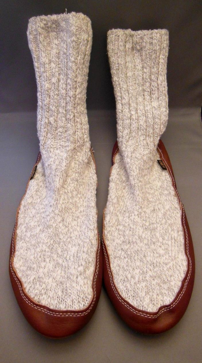 Acorn Slipper Socks Gray Heather Cable Knit Ragg Men's Large 10.5 - 11.5