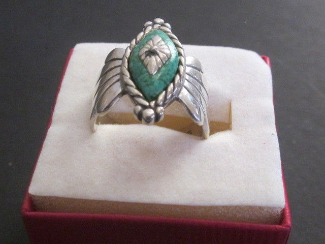 Vintage Signed CG? Sterling Silver Turquoise Sz. 8  Ring