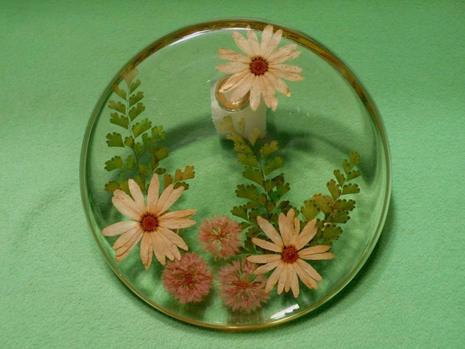 Vintage round acrylic pedestal trivet with multi-colored DRIED FLOWERS & LEAVES.