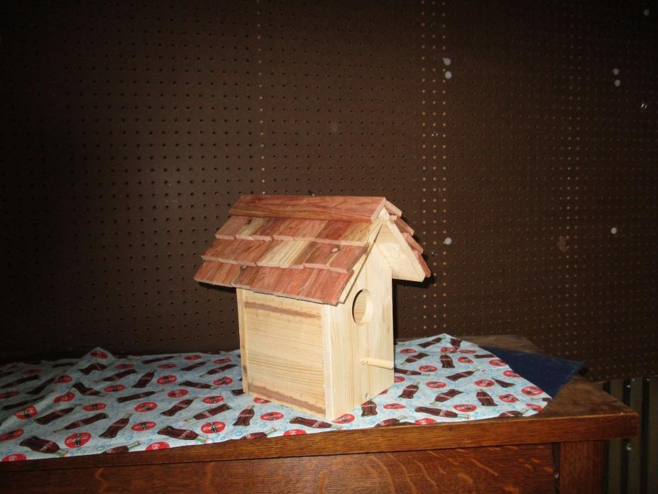 pine bird house with ceder shake roof