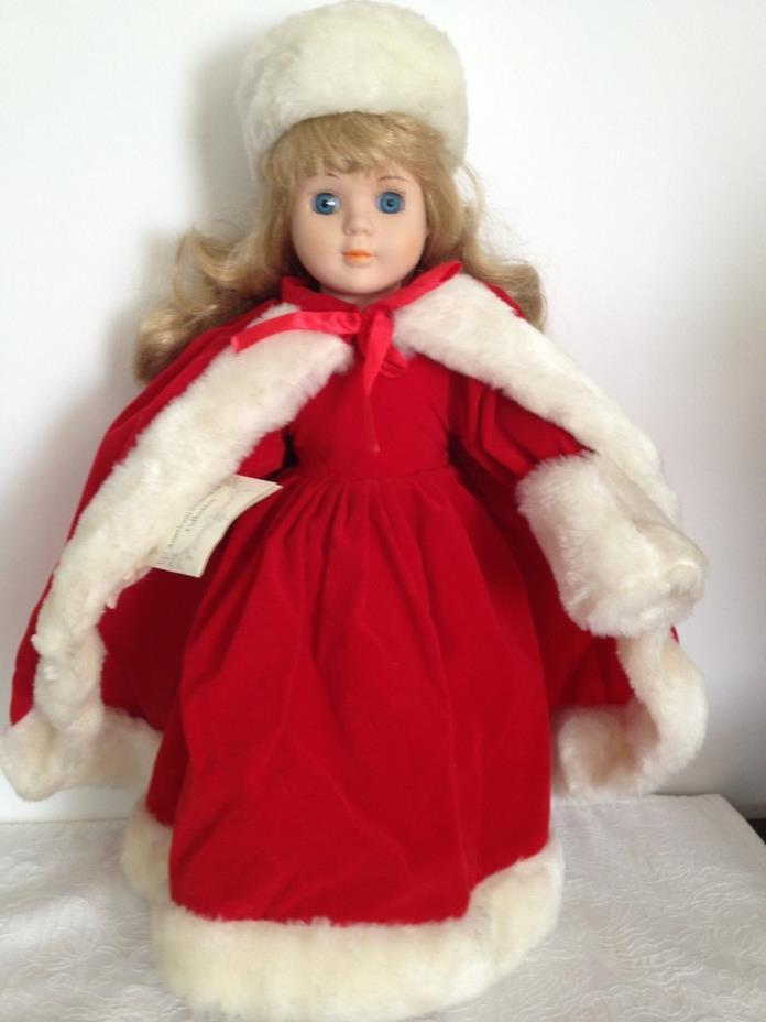 SUSANNA AMERICANA SWEETHEART COLLECTION Porcelain Doll  RED HOLIDAY DRESS & CAPE