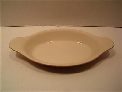Vintage Augratin Dish Stoneware Individual Casserole Server Oval Tab Handles
