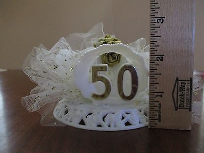 BAKERY CRAFT-Petite 50th Wedding Anniversary Cake Top with Glittered Tulle 1986