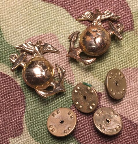 USMC Rare EGA Eagle Globe & Anchor Korean War Collar Emblems Dress Blue Clutch