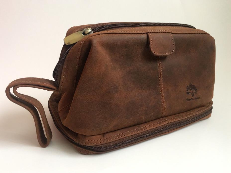 Genuine Buffalo Leather Toiletry Bag Men/Women Cosmetic Clutch