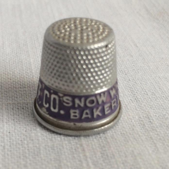 Snow White Bakeries Iten Biscuit Company Metal Thimble Vintage
