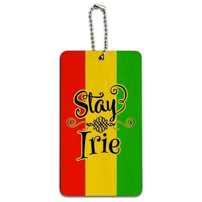 Stay Irie Rastafarian Flag Wood Luggage Card Suitcase Carry-On ID Tag