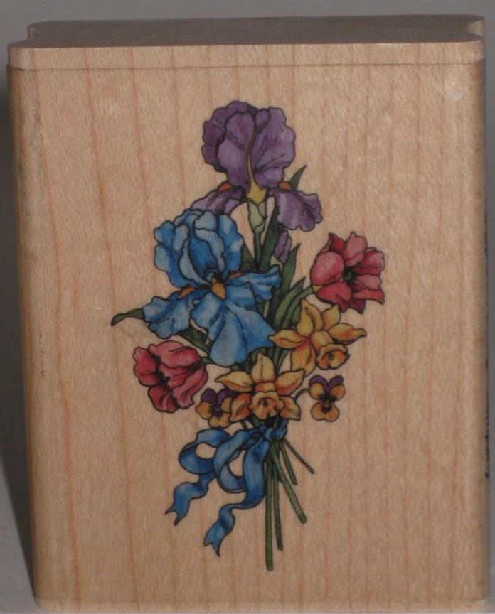 Uptown Rubber Stamp Spring Bouquet or Nosegay Iris Tulips Daffodils