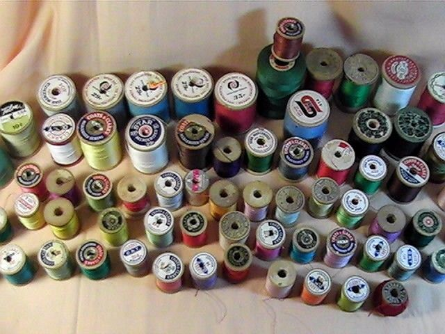 Lot of 69  Vintage Assorted Wooden  Spools Sewing Thread, Coats & Clark's plus