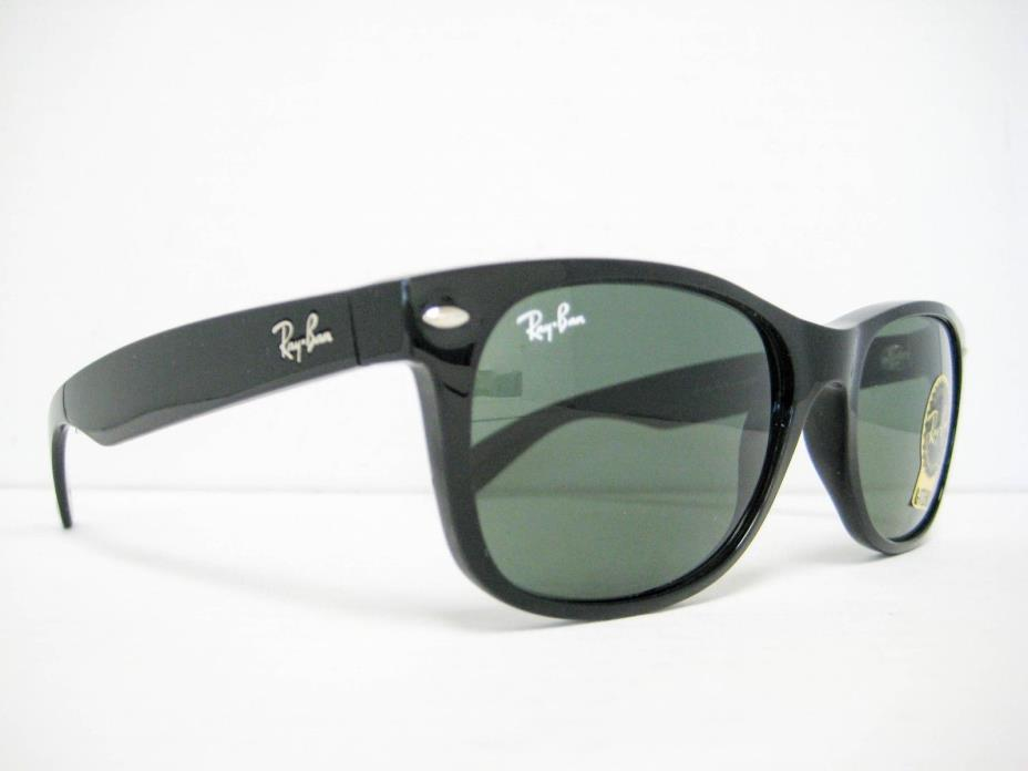 Ray Ban New Wayfarer RB2132 901L Black/Green 55mm NEW AUTHENTIC SUNGLASSES