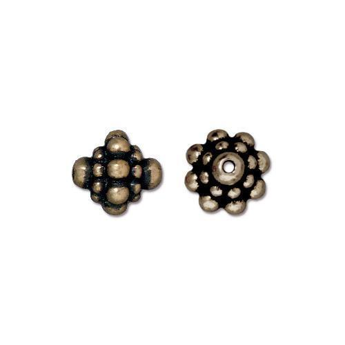TierraCast - (6) Antiqued Brass Plated Decorative Beads - Pamada 8mm
