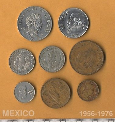 8 coins from Mexico 1956 to 1976 Estados Unidos Mexicanos