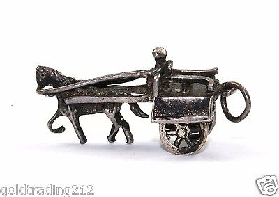VINTAGE MAN RIDING CART WITH HORSE SPIN WHEELS 3D PENDANT 925 STERLING PD 1042