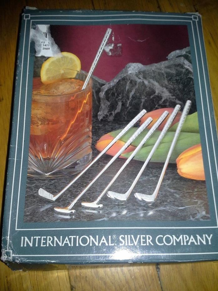 Golf club Stirrers Silver plated set of 6  6 1/4 inches in length NEW