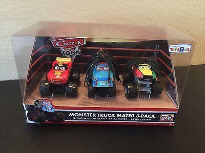 Disney CARS Toon 3 Pack Frightening McMean Rasta Mater Carian Monster Truck TRU!