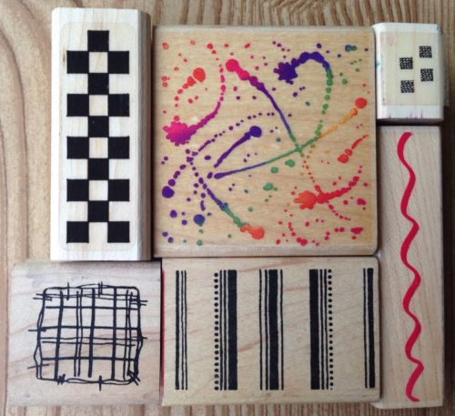 Lot of 6 Texture Paint Splatter Checkered Wavy Line Hero Arts Rubber Stamps