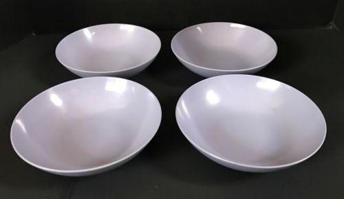 4 Vtg Royalon Lavender Soup/Cereal Bowls 312 Melamine Melmac Plastic Mid Century