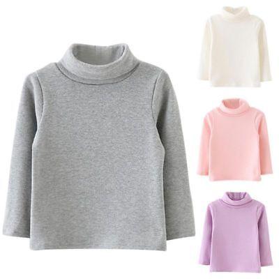Toddler Girl Kids Long Sleeve Solid Turtleneck T-shirt Tops Cotton Cozy Shirt