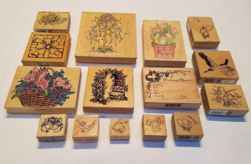 Lot of 15 Wooden Mounted Rubber Stamps -  LOVE WEDDING FLOWERS BABY