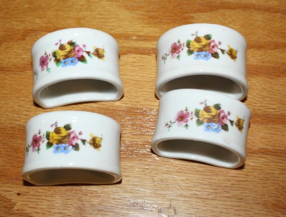 4 pc Vintage Napkin Rings White with Flower Design Porcelain 2