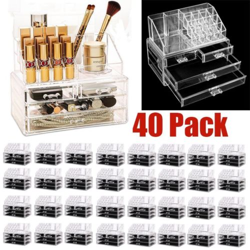 40 PACK Clear Acrylic Cosmetic Organizer 4 Drawers Makeup Case Storage Holder AS