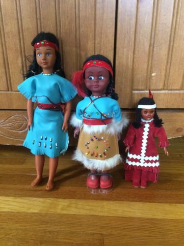 Vintage Indian Dolls 3 Dolls With Native American Clothing