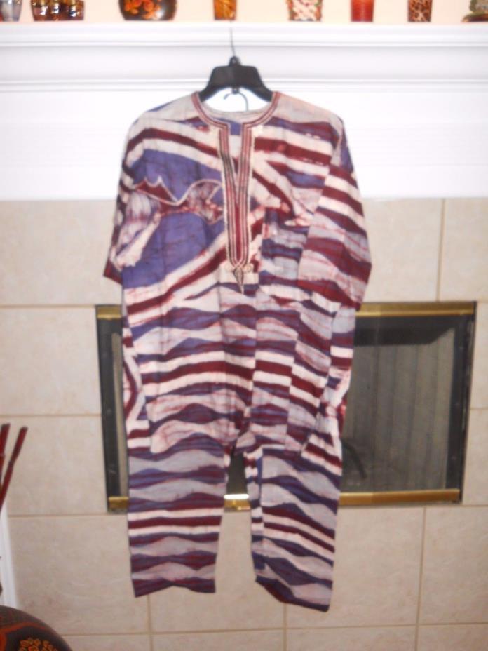 Men's African Tie  Dye Dashiki Pant Set  Adjustable Pants  Great Look  SZ M