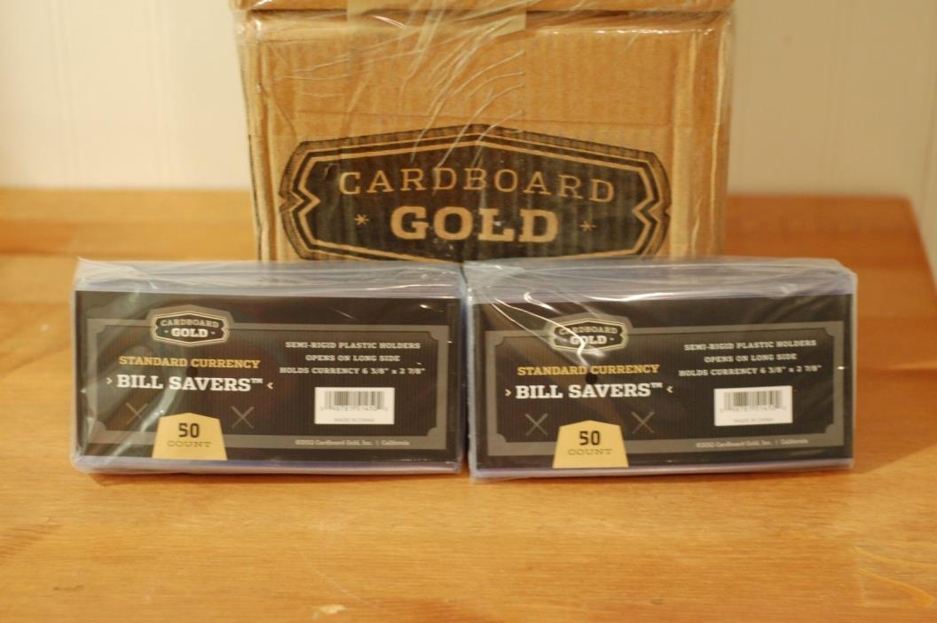 1000 CARDBOARD GOLD STANDARD SEMI-RIGID PLASTIC CURRENCY HOLDERS.