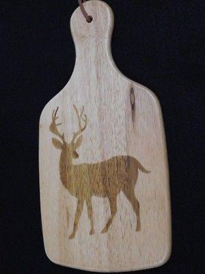 Deer Laser cut cheese cutting  board paddle w/ hanger 12