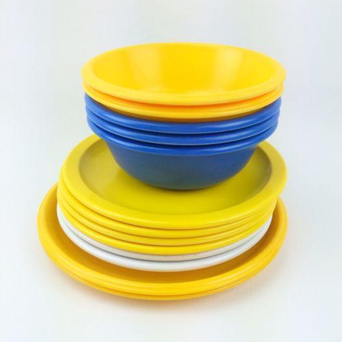 Lot 13 VTG MELAMINE Plates Bowls RUBBERMAID TEXAS WARE Yellow Blue White CAMPING