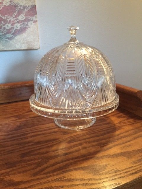 Vintage Crystal Footed Domed Cake Plate Heavy leaded crystal Antique MINT