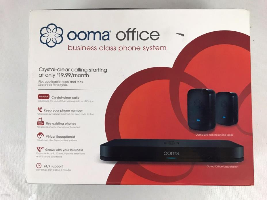 Ooma Office Base Station w/ 2 Lynx and all cables E3