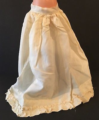 Vintage Victorian Long Doll Skirt Petticoat w/ Ruffle Bottom Half Slip 13