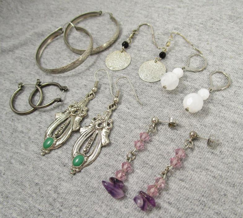 Modern Retro LOT Of 6 Pierced Post Earrings Silver Tone Hoops Dangling Beads 533