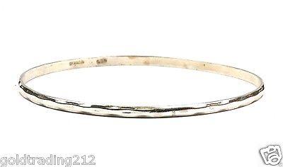 925 STERLING VINTAGE HAMMERED THIN PLAIN BANGLE BRACELET BR 1184