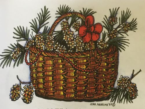 Northwoods ~ Christmas Basket with Bow & Pine Cones ~ Wood Mount Stamp ~ New
