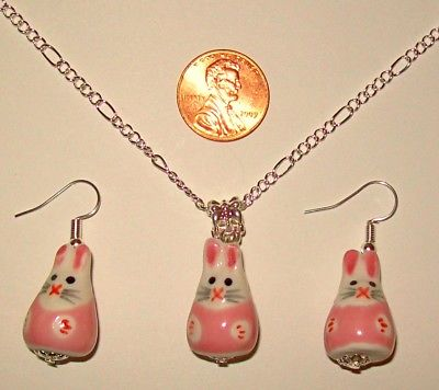 EASTER BUNNY NECKLACE & EARRINGS SET-CERAMIC-PINK/WHITE-24
