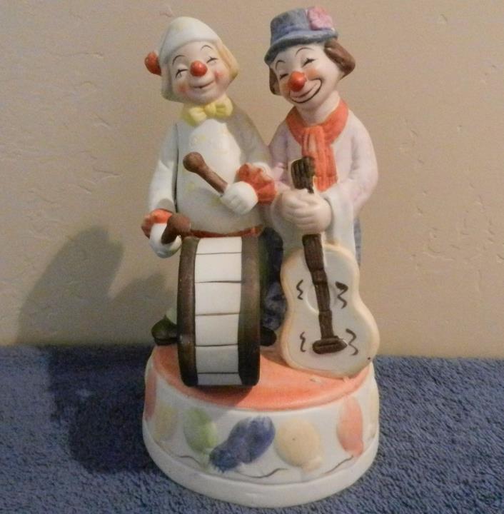 VINTAGE Send in the Clowns FIGURINE MUSIC BOX Drum & Guitar 2 clowns *EXC* LOOK