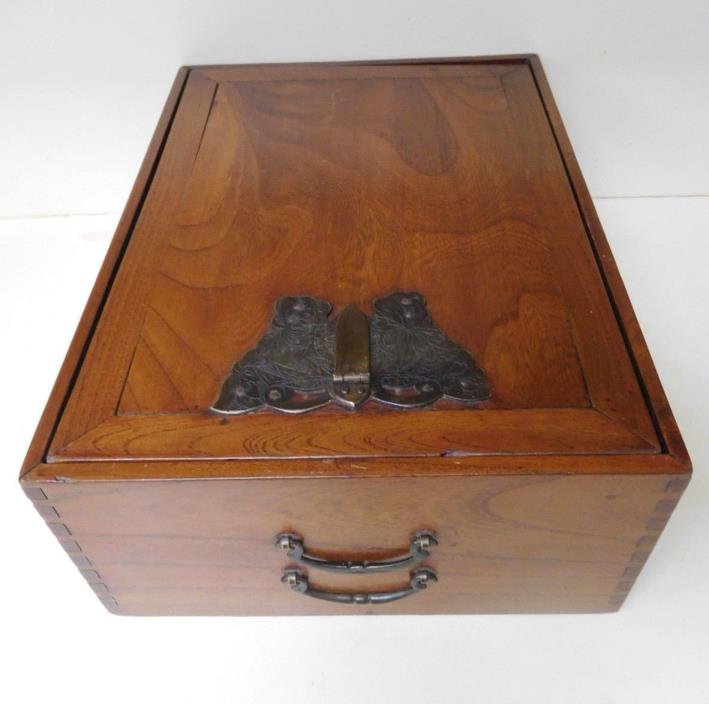 Korean Tansu Chest - Butterfly Lock & Key - Merchant Box - Hidden compartment