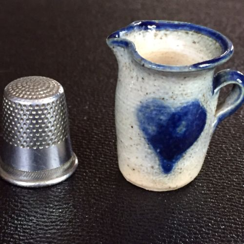 Tiny Pottery Miniature Crock Pitcher, Blue Design, Stoneware, 1988 Signed