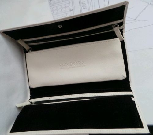 Pandora Jewelry Roll Organizer Charm Travel Case Genuine Leather Clutch
