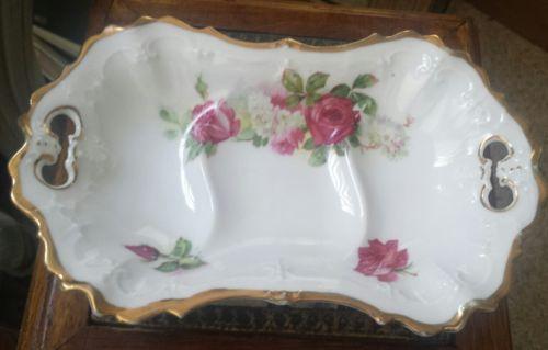Antique L S & S Carlsbad MZ Austria Dish w/ Gold Trim
