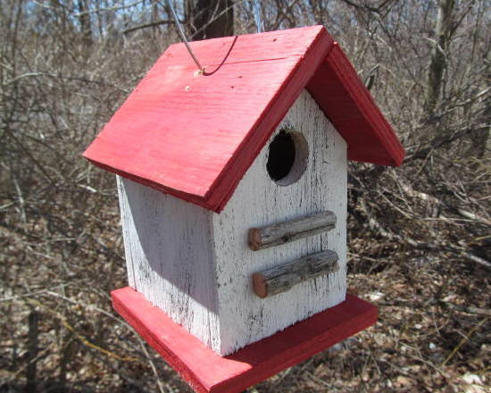 FREE SHIPPING Birdhouse White Red Tree Branch Perch Songbirds Primitive