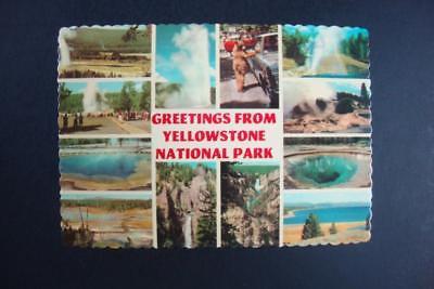 820) YELLOWSTONE NATIONAL PARK WYOMING OLD FAITHFUL GEYSER & VILLAGE WATERFALLS